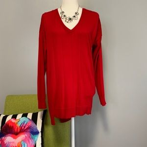 Vince Camuto Red Asymmetrical Hem Sweater